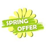 De lenteaanbieding met bloem, groen getrokken etiket Stock Fotografie