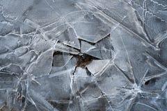 De lenteachtergrond - meltinh en barstend ijs stock foto's