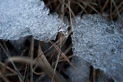De lenteachtergrond - meltinh en barstend ijs Royalty-vrije Stock Foto