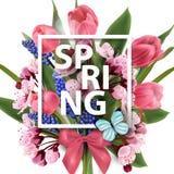De lenteachtergrond met bloeiende de lentebloemen, roze stock illustratie