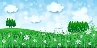 De lenteachtergrond met bomen Stock Afbeeldingen