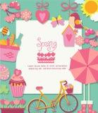 De lenteachtergrond met cuteicons en kader Royalty-vrije Stock Fotografie