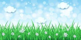 De lenteachtergrond met hemel en gras Royalty-vrije Stock Foto