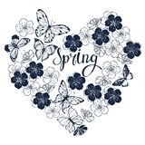 De lenteachtergrond met vlinders en bloemen van kers Vector royalty-vrije illustratie