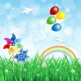 De lenteachtergrond met vuurraderen Royalty-vrije Stock Afbeelding