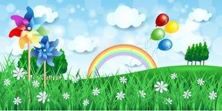 De lenteachtergrond met vuurraderen en ballons Stock Foto's