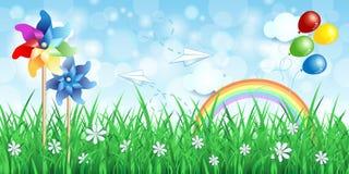 De lenteachtergrond met vuurraderen en regenboog Stock Afbeeldingen