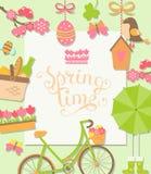 De lenteachtergrond, vectorillustratie Stock Afbeelding