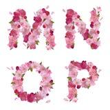De lentealfabet met kersenbloemen MNOP Stock Afbeeldingen