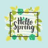 De lentebanner met groene bladeren Stock Afbeeldingen