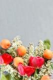 De lentebloemen, abrikozen op een concrete achtergrond Stock Fotografie