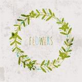 De lentebloemen, bladeren, paardebloem, gras op een uitstekende achtergrond Stock Afbeeldingen