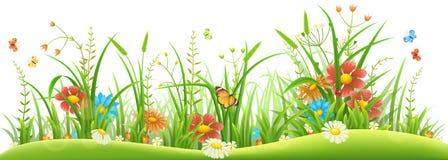 De lentebloemen en gras Stock Afbeelding
