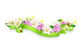 De lentebloemen en lint Royalty-vrije Stock Afbeelding
