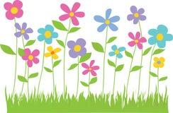 De lentebloemen met Grasgrens stock illustratie