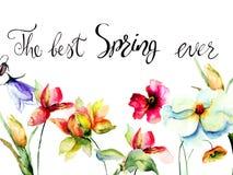 De lentebloemen met titel de beste lente ooit Royalty-vrije Stock Afbeelding