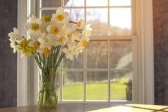 De lentebloemen op lijst in vaas met donkere greys en zwarten met Royalty-vrije Stock Foto
