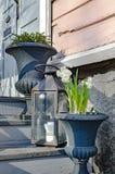 De lentebloemen op de portiek van het huis stock fotografie