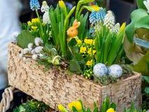 De lentebloemen op de straat worden verkocht die Bloemen in ceramische potten Pasen-markt op de straten van Wenen royalty-vrije stock afbeeldingen