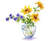 De lentebloemen in vaas Royalty-vrije Stock Afbeeldingen