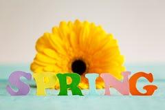 De lentedocument woord met gele bloem op achtergrond Hello-de Lente De lentebehang Stock Afbeelding