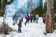 De lentefestival Maslenitsa - het Zien van de Russische winter, Stock Fotografie