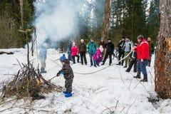 De lentefestival Maslenitsa - het Zien van de Russische winter, Royalty-vrije Stock Afbeeldingen