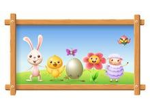 De lentefoto met gelukkige karakters - konijntje, kip, bloem, schapen bij-eter vogel en vlinder vier Pasen rond ei - land royalty-vrije illustratie
