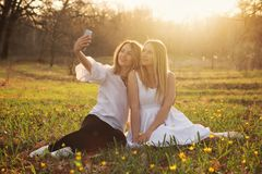 De lentegang in bos royalty-vrije stock afbeeldingen