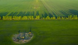 De lentegebieden, lange schaduwen van landing bij zonsondergang van quadrocopter stock afbeelding