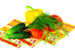 De lentegroenten en dille voor salade op een witte achtergrond Royalty-vrije Stock Afbeelding