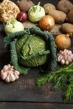 De lentegroenten op een donkere achtergrond: Savooiekool, bloemkool, ui, knoflook, koolraap, selderiewortel, dille Stock Foto