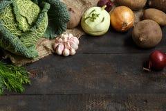 De lentegroenten op een donkere achtergrond: Savooiekool, bloemkool, ui, knoflook, koolraap, selderiewortel, dille Stock Fotografie