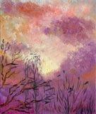 De lentehemel met wolken bij zonsondergang royalty-vrije illustratie