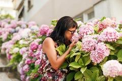 De lentehydrangea hortensia van vrouwenaanrakingen in tuin Royalty-vrije Stock Foto's