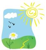 De lenteillustratie van het beeldverhaal Stock Foto's