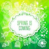 De lentekaart met Bloem. De vectorillustratie, kan worden gebruikt als cre Stock Afbeelding