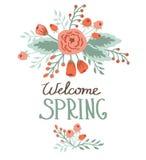 De lentekaart met bloemenelementen vector illustratie