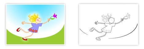 De lentekleuring voor jonge geitjes Meisje met een Bloem De tekening van het kind Royalty-vrije Stock Afbeelding