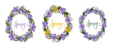 De lentekroon met krokussen, mimosa en het van letters voorzien royalty-vrije illustratie