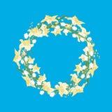 De lentekroon van gele narcissen en sneeuwklokjes op blauwe achtergrond vector illustratie
