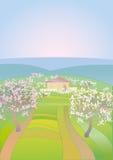 De lentelandschap met bloeiende bomen vector illustratie