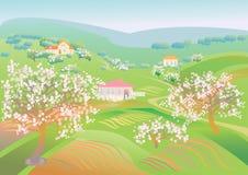 De lentelandschap met bloeiende bomen stock illustratie