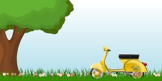 De lentelandschap met een klassieke autoped op gras met bloemen Royalty-vrije Stock Fotografie