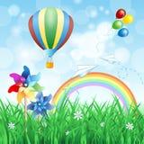 De lentelandschap met hete luchtballon Stock Foto