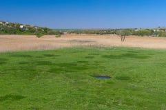 De lentelandschap met klein rond meer in een weide Stock Afbeeldingen