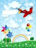 De lentelandschap met vliegtuig en banner, verticale versie Stock Afbeelding