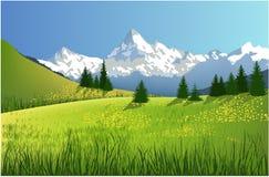 De lentelandschap van de berg Royalty-vrije Stock Foto