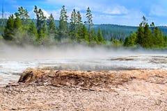 De Lentelandschap van de Yellowstonewaterketel Stock Afbeeldingen