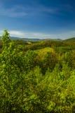 De lentelandschap van het Uitlopersbrede rijweg met mooi aangelegd landschap Royalty-vrije Stock Afbeelding